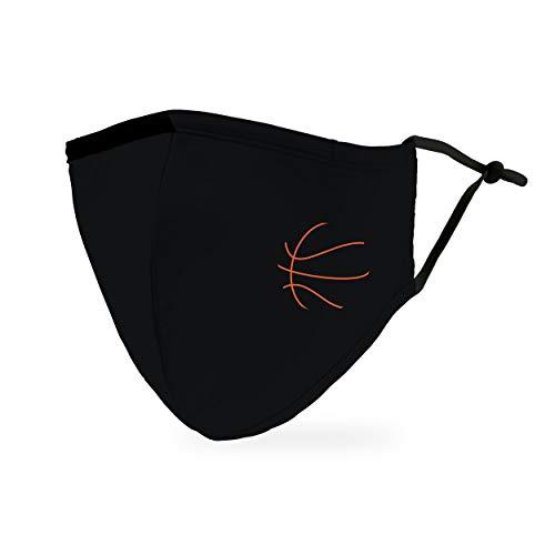Weddingstar waschbare, Mundschutzmasken aus Stoff. Wiederverwendbar und verstellbar mit Staubfiltertasche - Basketball