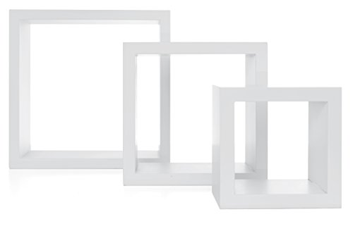 kieragrace Stockholm Cubbi Floating Wall Shelves, 5' x 5', 7' x 7', 9' x 9', White, Set of 3