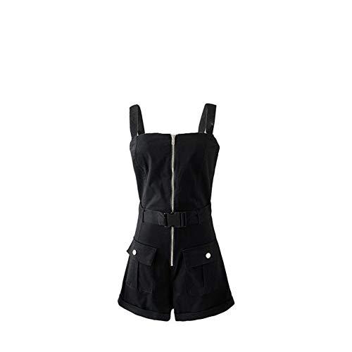 Sijux Damen Latzhose mit hoher Taille und Reißverschluss und lässiger Cargo-Latzhose Hot Pants Playsuits mit Tasche,Black,L