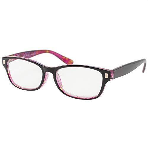 エール 老眼鏡 3.0 度数 レディース プラスチックフレーム バネ蝶番 花柄 AP127S