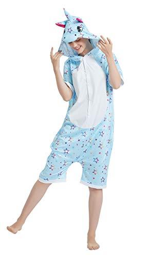 CHOBES Pijama de unicornio de manga corta para adulto de una sola pieza de verano Cosplay disfraz