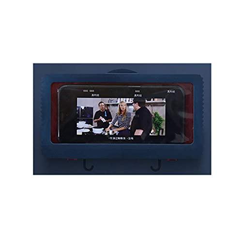 DealMux - Caja de almacenamiento para teléfono con pantalla táctil a prueba de agua, montaje en pared, ducha, teléfono, caja de almacenamiento para teléfono, azul