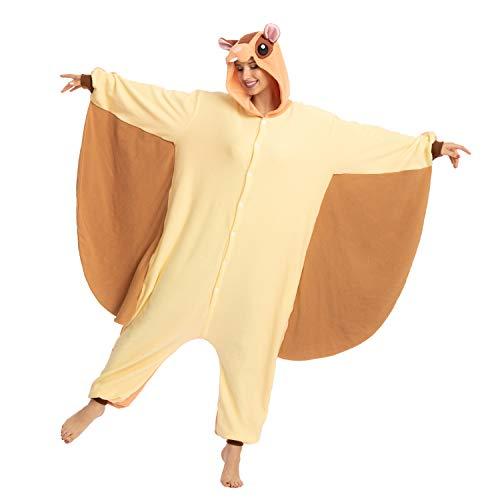 Spooktacular Creations Adult Unisex Flying Squirrel Onesie (Large) Beige