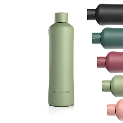 LARS NYSØM Bottiglia da bere in acciaio inox 1000ml   Bottiglia isolata senza BPA da 1 litro   Bottiglia d'acqua a prova di perdite per sport, bici, cane, cane, bambino, bambini   Thermos
