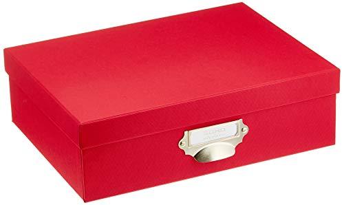Rössler SOHO - Caja de almacenamiento de documentos A4, con identificador y tirador, color rojo