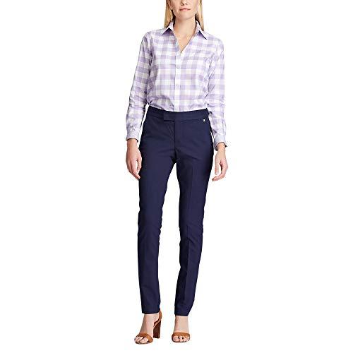 Chaps Women's Long Sleeve Non Iron Broadcloth-Shirt, White/Lavender, M