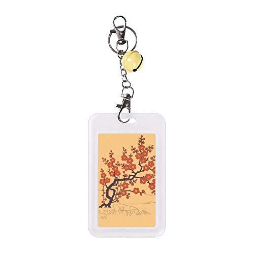 Funda protectora para tarjeta de crédito, diseño de flores rojas de pintura de la cultura japonesa, color amarillo