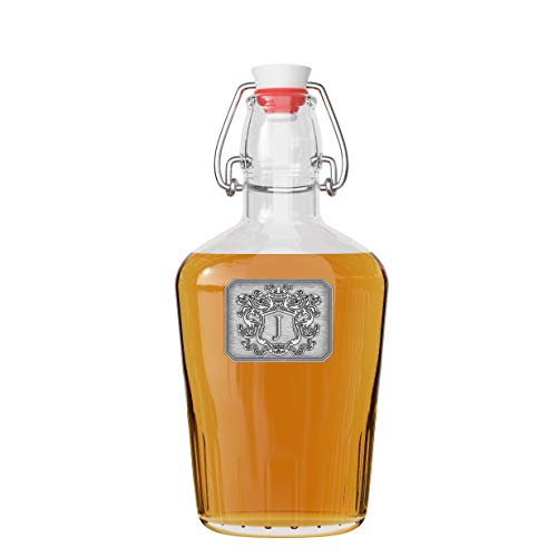 Fine Occasion Swing Top Pocket Flask Glass Bottle Monogram Initial Pewter Engraved Crest for Weddings, Birthdays or any Special Event (J, 8oz)