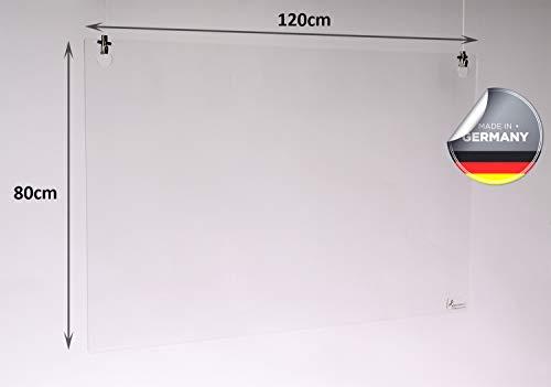 Queence | Hochwertiger Tröpfchenschutz aus Acrylglas zum Aufhängen | Hustenschutz für Empfangsbereich | Hängend | Niesschutz | für Deckenmontage, incl. Aufhängung, Größe:120x80 cm