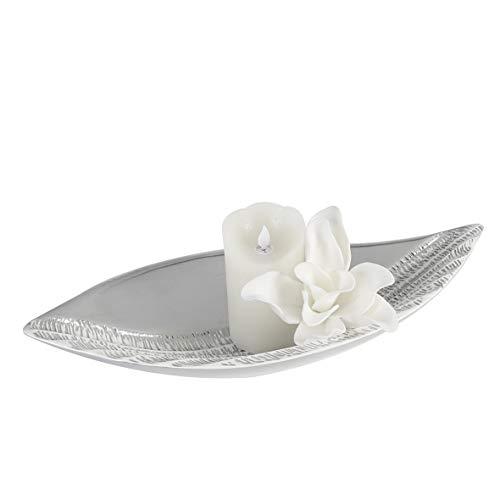 Casablanca schaal Carve keramiek zilverkleurig/wit met kaarfstructuur - Europese productie - H = 8 cm B = 49 cm D = 22 cm 56287