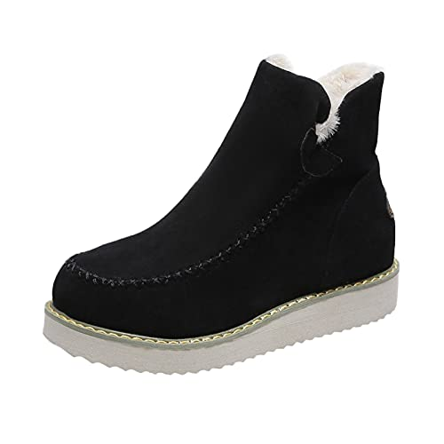 Heumgtnvx Cotton Snow Boots Womens Winter Warm Plus Velvet Hort Boots Solid Color Ankle Boots Platform Casual Walking Shoes Black