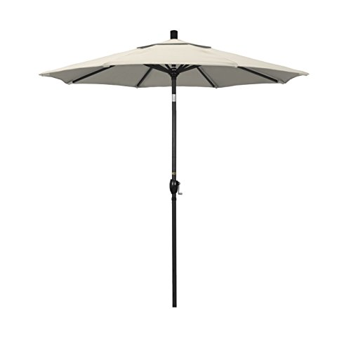 California Umbrella Paraguas de Aluminio Redondo de 19,05 cm, Elevador de manivelas, botón de inclinación, Barra Negra, Beige Antiguo, Olefin Canvas