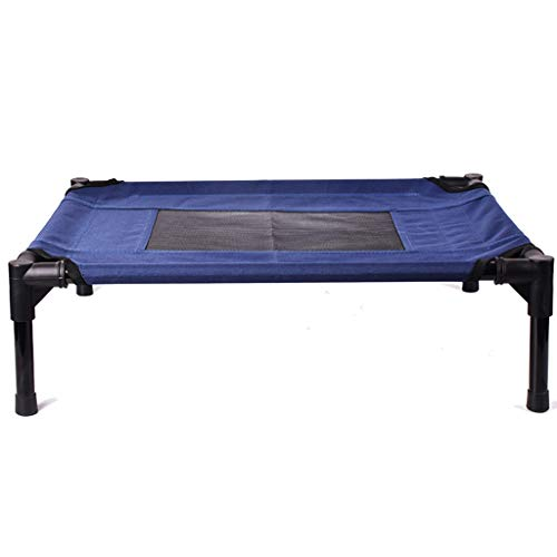 QZ Elevated Pet Bed - Best Dog Cot Outdoor Indoor Camping Raised Cot, Blue, Size Optional (Size : M 76×60×16cm)