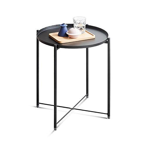 YANGLY Tray Metal End Table, Sofa Table Small Round Side Tables, Anti-Rust and Waterproof Outdoor & Indoor Snack Table, Coffee Table, Black