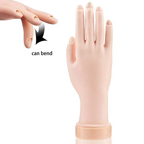 UCLEVER Mano finta con dita per praticare la manicure, flessibile, in morbida plastica, per esercitazioni di nail art