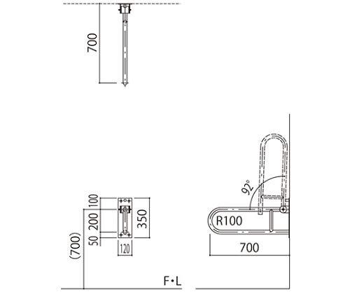 新協和 バリアフリー手摺 洋式トイレ手摺SK-288SN-RJ グリーン