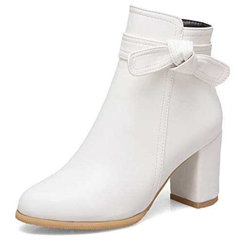 SERAPH Frauen Stiefeletten High Blockabsatz Bowknot Zip Booties Größe,White,39EU