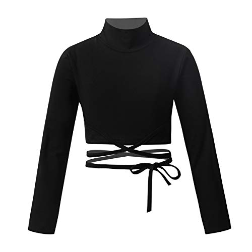 Yeahdor Big Girls' Mock Neck Long Sleeve Athletic Sports Gymnastics Crop Top Ballet Dance Fitness T-Shirt Sportswear Strappy Black 8-10
