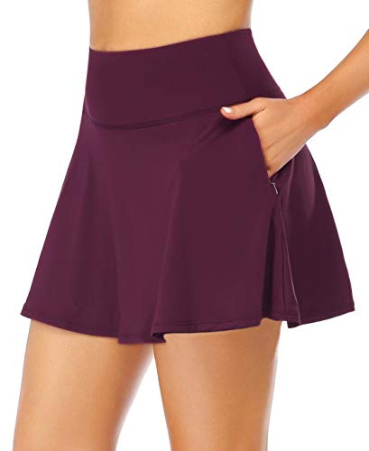 Oalka Women's Pleated Skirt with Pockets High Waist Sports Athletic Running Shorts Golf Tennis Skorts Cassis Small
