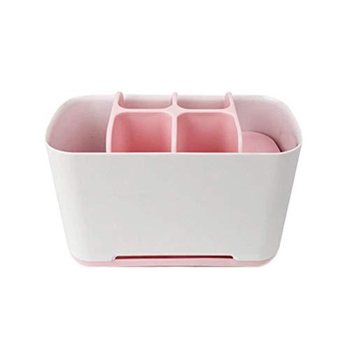 Demarkt tandenborstelhouder, kunststof voor de badkamer voor tandpasta elektrische tandenborstels roze