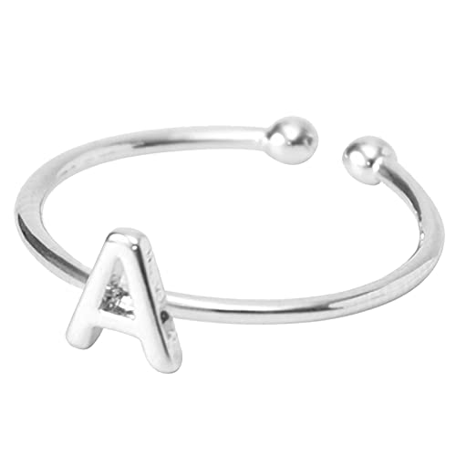 Initial Letter Ring for Women Girls Alphabet Adjustable Open Ring Minimalistic Statement A-Z Name Rings Gift for Women