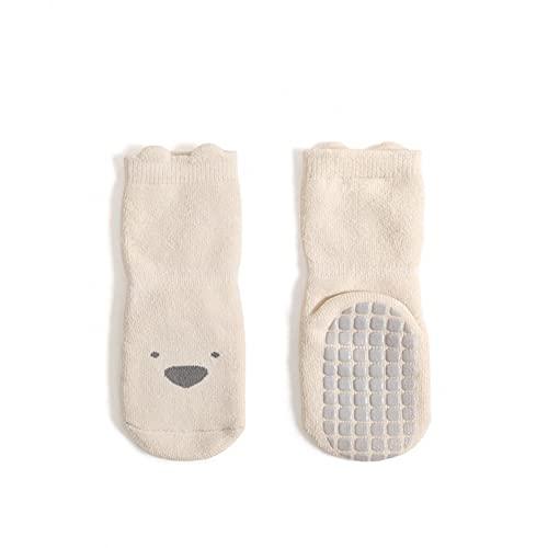Calcetines de tope, calcetines para niños, de 0 a 6 meses, calcetines largos, calcetines para niños, calcetines de piso, calcetines antideslizantes para niños, calcetines para gatear, beige, 36