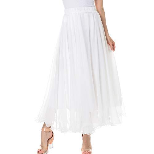 TEERFU Damen Maxirock, lang, knöchellang, elastisch, plissiert, Retro-Stil, Chiffon Gr. 40, weiß