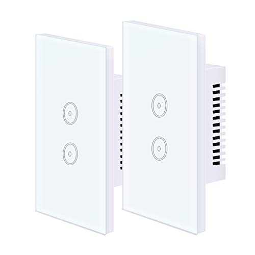 UseeLink Interruttore Della Luce Intelligente WiFi, con Touch Screen in Vetro Temperato, 2 Gang, Funziona con Alexa/Google Home, Telecomando, Timer, Conduttore Neutro Richiesto (2 PCS)
