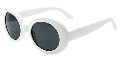 My Shades - White Oval Round Sunglasses Thick Bold Retro Clout Goggles (White, Smoke), Large