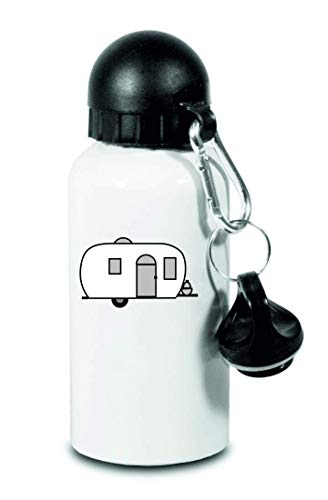 Druckerlebnis24 Trinkflasche - Globetrotter Wohnwagen Mobil Home - Für Kinder, Schule, Sport, Fitness - Schlanke Wasserflasche aus Aluminium
