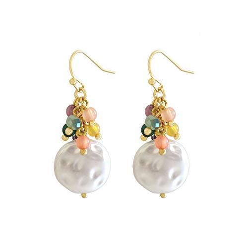 TLBB Pendientes de caída de Perlas de Larga Borla para Mujeres Regalo joyería Coreana Color Dorado (Metal Color : A)