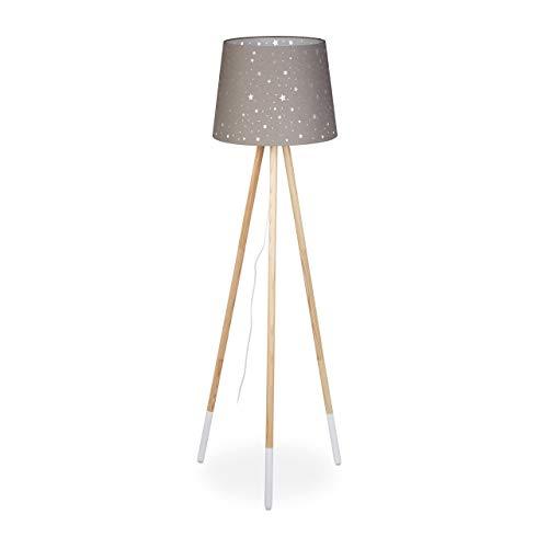 Relaxdays Lámpara de pie para habitación Infantil, E27, con Cable, Pantalla con diseño de Estrella, trípode y Tela, Madera, 147 cm de Alto, Color Gris, dorado