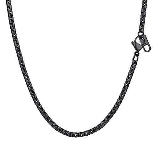 PROSTEEL Halskette Hochwertig Edelstahl Ankerkette Erbskette 3MM Breite Herren Kette mit Karabinerverschluss 55CM Lang Schwarz