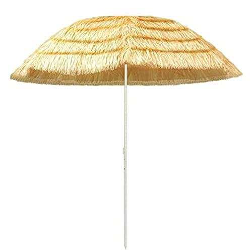 Paraguas De Paja Redondo,Parasol de Playa Estilo Hawaiano Portátil con Función De Inclinación Adecuado,con Protección UV,para JardíN Piscina Patio Solar Sombrilla de Paja