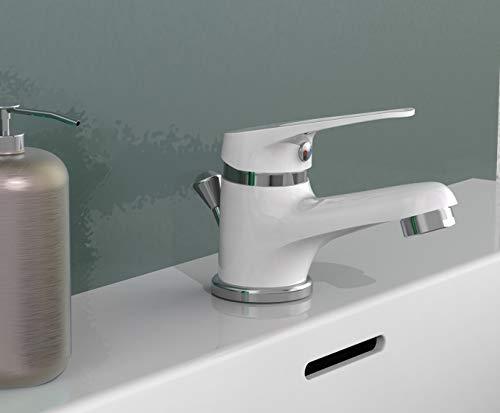 EISL Waschtischarmatur SPEED, Badarmatur, Einhebelmischer mit Ablaufgarnitur, besonders platzsparender Wasserhahn ideal für kleine Waschbecken, Chrom/Weiß NI075SCR-W