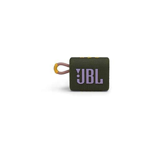 JBL GO 3 kleine Bluetooth Box in Grün – Wasserfester, tragbarer Lautsprecher für unterwegs – Bis zu 5h Wiedergabezeit mit nur einer Akkuladung