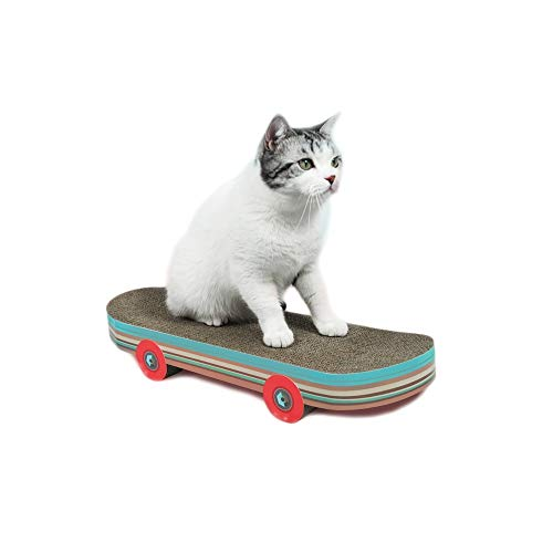 String Lights Surf/Skate-Brett-Shaped Cat Scratcher Durable Haustier Sicher Recyclingfähige Karton for Erwachsene Haus-Katzen-Kätzchen-Schleifen Claws (Skate Board)