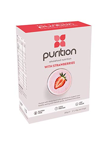 Purition Original Strawberry | Premium High Protein Powder for Keto Shakes and Smoothies with Only Natural Ingredients for Weight Loss | 7 x 40g sachets (Strawberry)