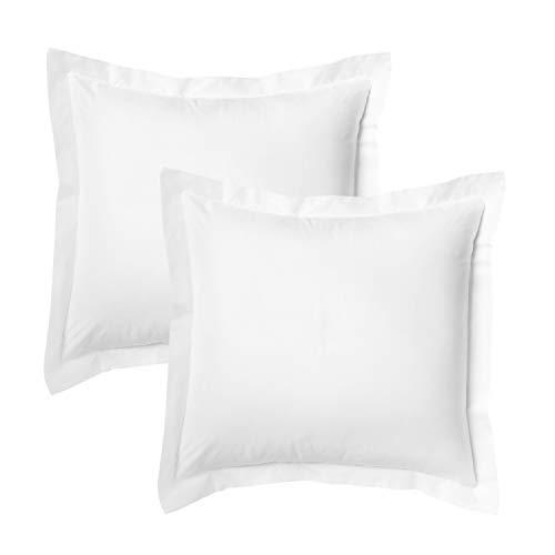 Bedsure Euro Pillow Sham Covers 26x26 Set of 2, Super Soft and Cozy White European Pillow Shams, Brushed Microfiber Euro Sham Pillow Covers