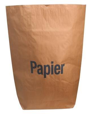 """25 Papiersäcke braun mit Aufdruck \""""Papier\"""" für 120l 70x95cm"""