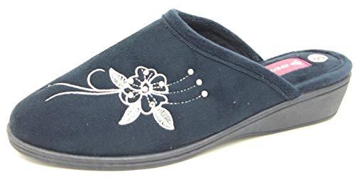 Dunlop - Pantuflas Pamela de mujer con tacón bajo de cuña sin espalda, color azul marino o lila, talla 36, 37.5, 38.5, 40, 41, 42.5, color Azul, talla 40 EU
