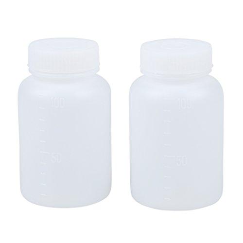 SODIAL(R) 2pzs Botella de boca ancha de plastico a prueba de fugas de doble tapa de laboratorio Blanco 100 ml