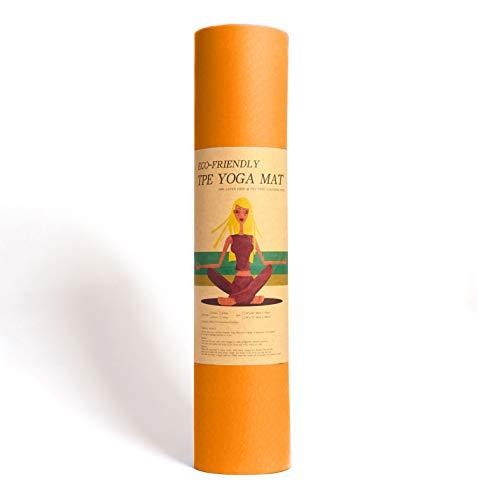 Epic Brands Fitleap Yoga-Matte Pro Orange aus umweltfreundlichem TPE-Schaum. Sehr rutschfeste, schadstofffreie, hypoallergene und hautfreundliche Gymnastik-Matte, Fitness-Matte, Turn-Matte