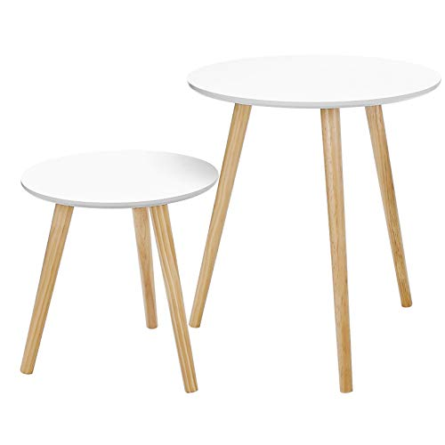 SONGMICS Lot de 2 Tables Basses, Table Ronde pour cafétéria, Table de Chevet, Style scandinave, Moderne, Minimaliste, Salon, Chambre, Blanc LET07WN