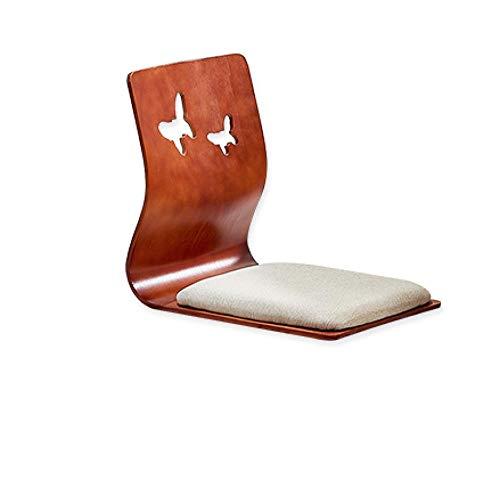 Qaoping Japanisch Tatami und Raumstuhl Bett Computerstuhl Einzelne Beinless Rückenlehnenstuhl Hocker Lazy Float Fensterstuhl-Mahagoni ohne Beine (Color : Brown on White)
