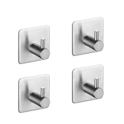 ACMYCH Adhesive Hooks , Waterproof Stainless Steel Hooks,Towel Hooks-4 Packs