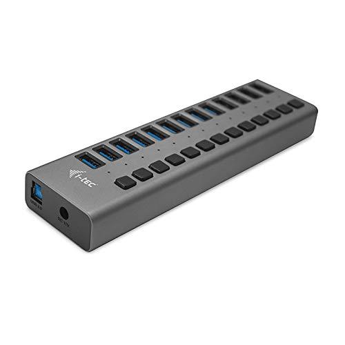 i-tec Hub USB Alimenté, Hub USB 3.0 à 13 Ports Dédiés à la Charge avec Interrupteurs Marche/Arrêt - Concentrateur USB 3.0 avec Alimentation Externe 60W