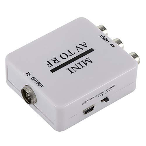 Guangcailun HD Video Converter Box AV RCA CVSB al Adaptador de vídeo RF convertidor de RF Soporte 67.25Mhz 61.25Mhz