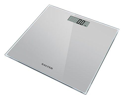 Salter 9037 SV3R - Báscula de baño digital, línea Salter Glass, 180 kg, color plateado