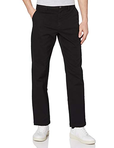 Amazon-Marke: MERAKI Herren Baumwoll Regular Fit Chino Hose, Schwarz (Black), 34W / 32L, Label: 34W / 32L